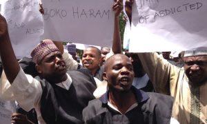 Teachers protesting against Boko Haram in Maiduguri, capital of the northeastern Nigerian state of Borno