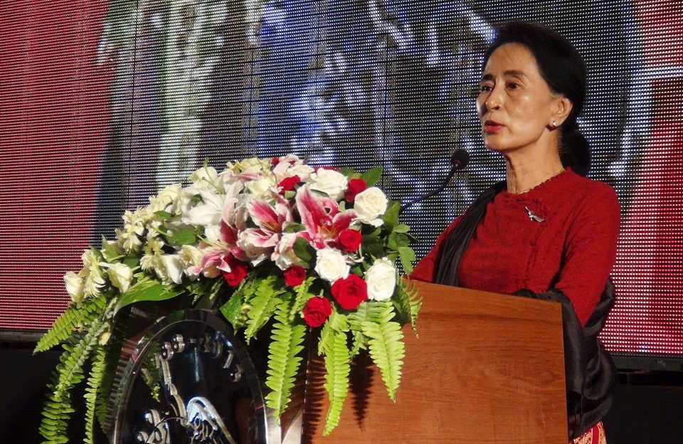 Myanmar opposition party leader Aung San Suu Kyi addresses an audience in Yangon, Myanmar at an August 2013 event commemorating the 25th anniversary of the student-led uprising in 1988, also known as 8888. (RFA Photo)