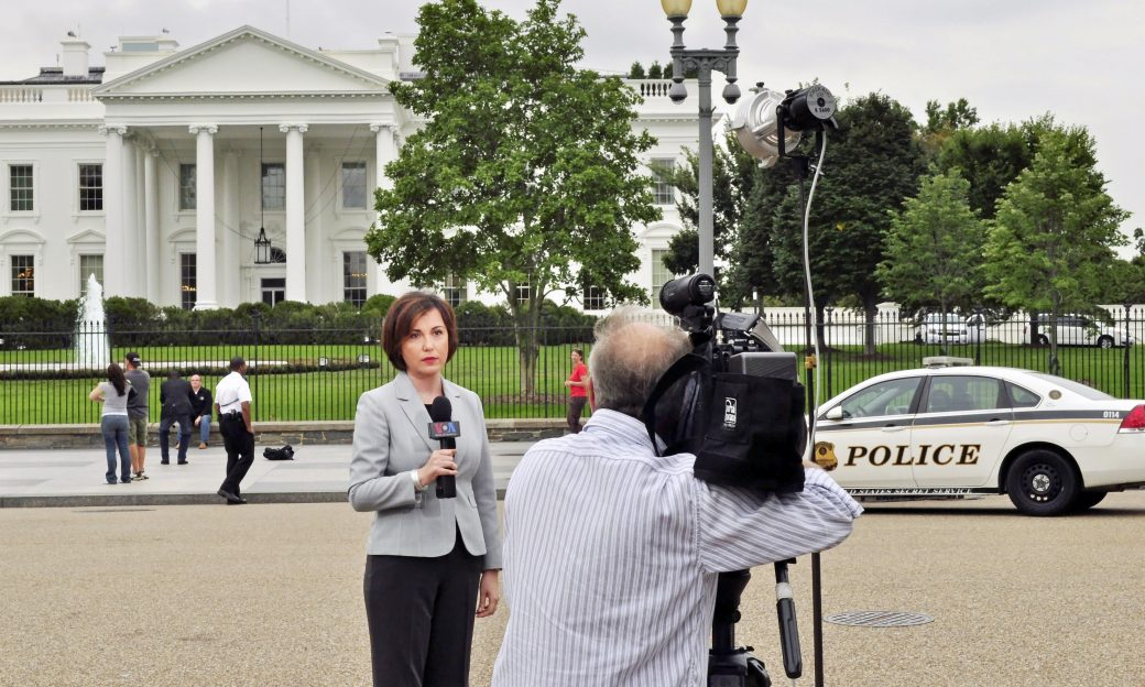 VOA Greek Service Chief Anna Morris in front of the White House.