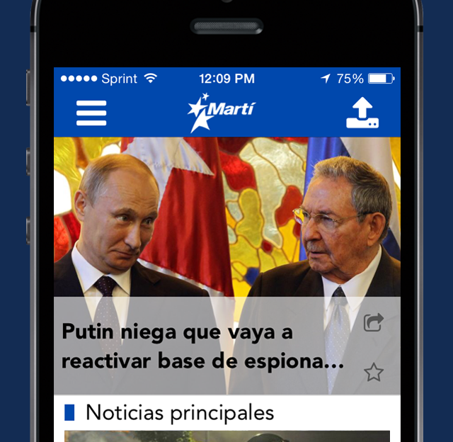 screen capture of Marti Noticias app