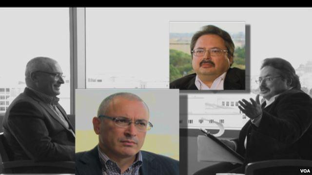 Mikhail Khodorkovsky (left) awaits a question from VOA Russian's Alexander Panov