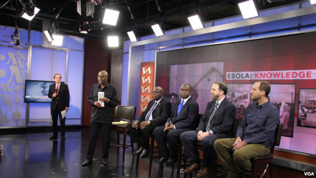 (left to right): VOA Director David Ensor, STA Host Shaka Ssali, Ambassador H.E. Bockari K. Stevens, Dr. Malonga Miatudila, Ebola survivors Dr. Rick Sacra and Ashoka Mukpo