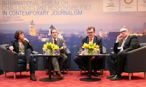 (L-R): Rita Miliūtė, Governor Matt Armstrong,  Evgeny Kiselev, Jan Machecek
