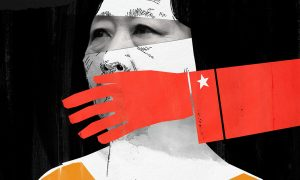 "Illustration of Gao Yu for RFA's book ""It's Not OK"" about women's rights Asia."