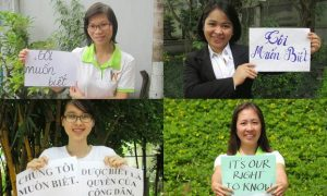 A grid of photos of Vietnamese bloggers display signs demanding government transparency