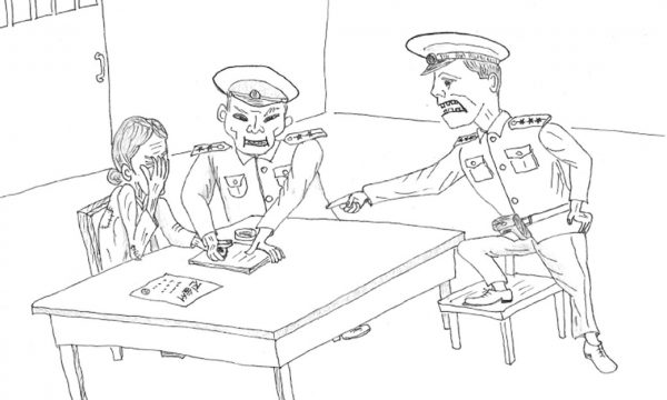 Illustration of a North Korean prison camp interrogation. Drawing by Young Jung.