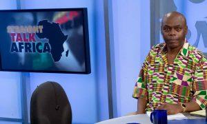Photo of Shaka Ssali on the set of Straight Talk Africa