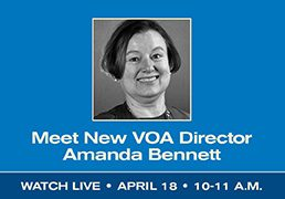 "Image of Amanda Bennett with text below reading ""Meet new VOA Director Amanda Bennett"""