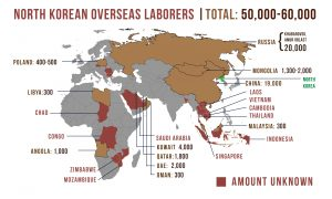 World map depicting locations of North Korean overseas laborers