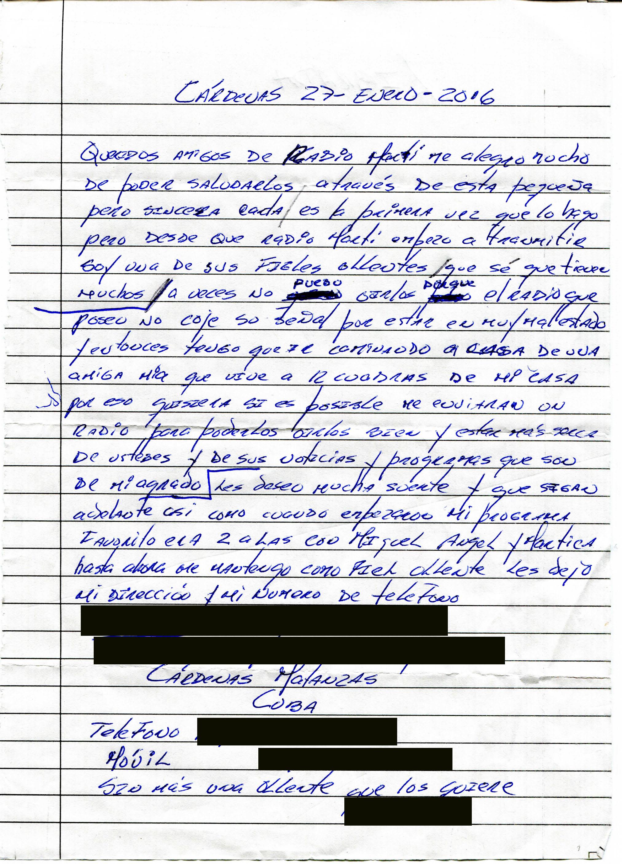 A letter written in Spanish