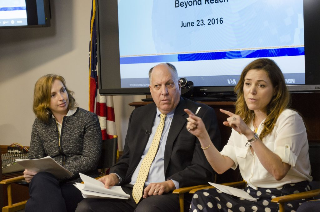 Three people on the impact panel during Thursday's Board meeting