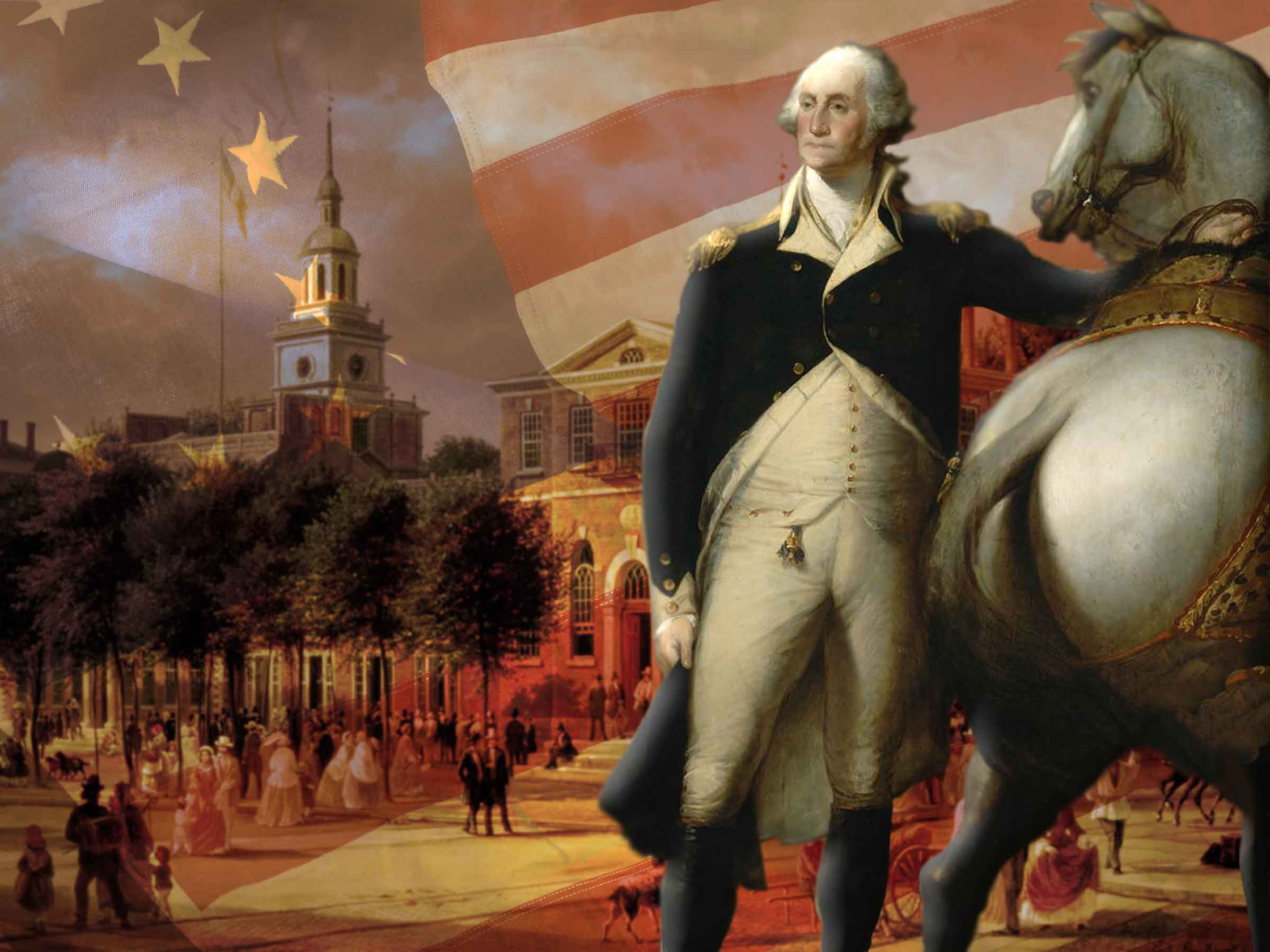 Composite image of Independence Hall, the American Flag, and George Washington