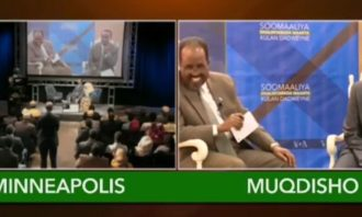 Screen capture of split screen of transmission from Minneapolis, Minnesota and Mogadishu, Somalia