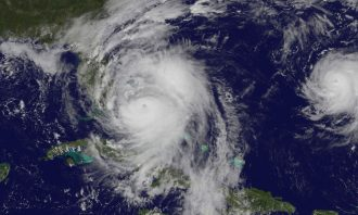 satellite image of hurricane off Florida coast
