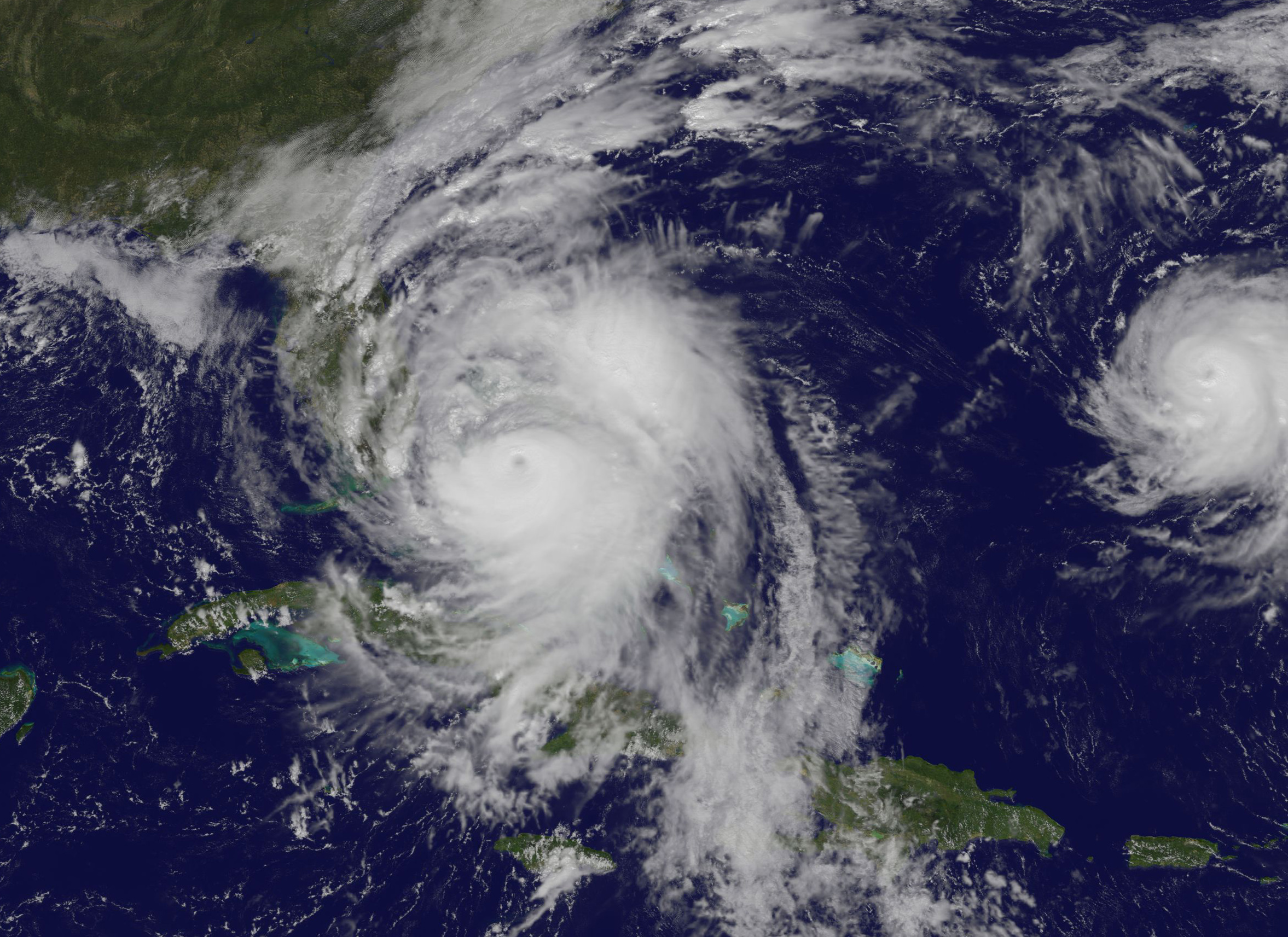 satellite image of hurricane off Florida coast