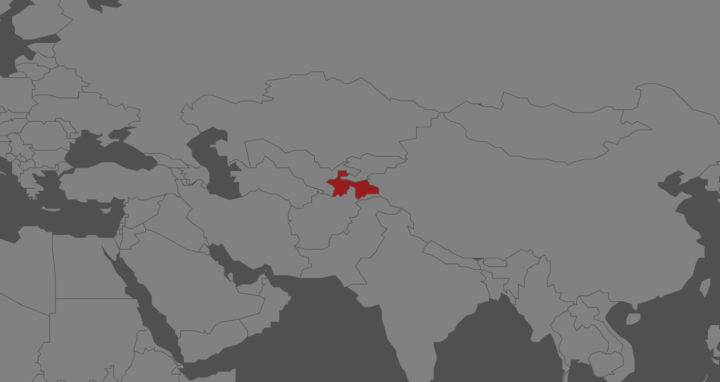 A map with Tajikistan highlighted