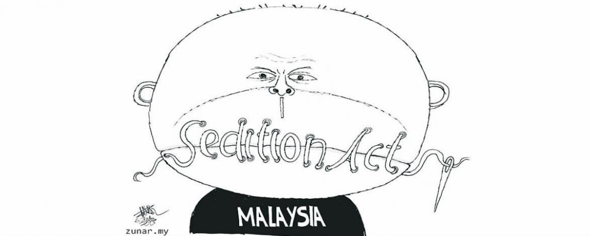 cartoon of man with lips swen shut. The thread spells out Sedition Act.