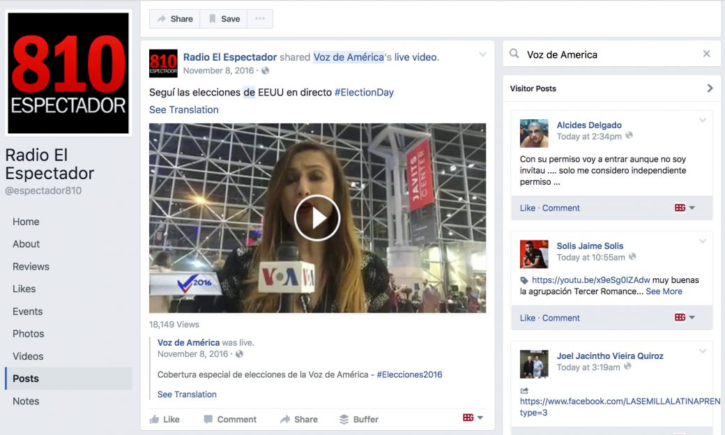 Screenshot of a Facebook page for Uruguay radio station 810 El Espectador