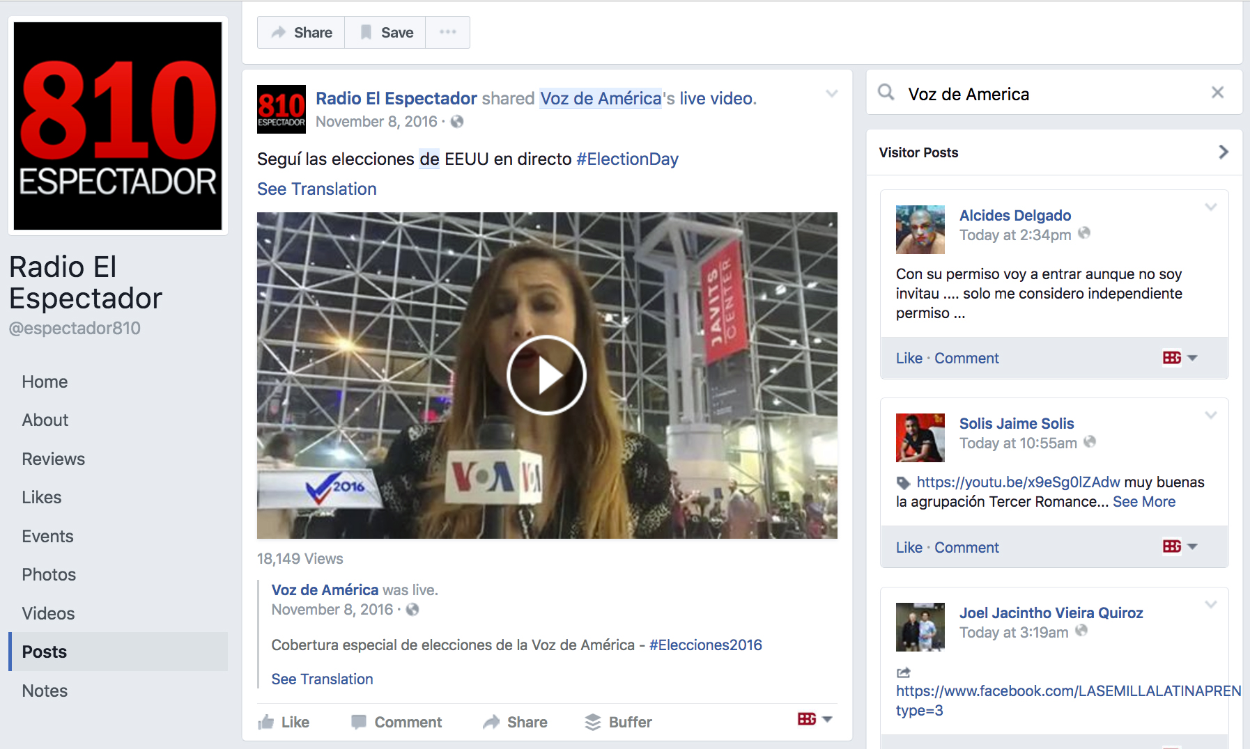 Screenshot of a Facebook page for Uruguay radio station 810 El Espectador