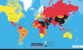 Map of the world showing the state of press freedom in each country