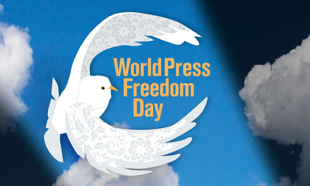 Sky and clouds in the background and an illustration of a dove in the foreground, World Press Freedom Day logo