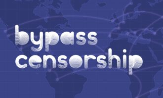 The words bypass censorship written on a faded map of the world