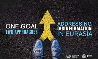 promotional graphic for event titled One goal, two approaches: Addressing disinformation in Eurasia