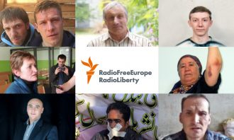 grid of portraits of journalists with a center square of the Radio Free Europe / Radio Liberty logo
