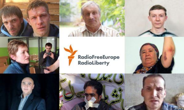 collage of men and women with RFERL logo in the center