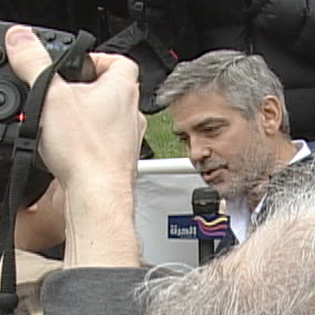 Alhurra Interviews George Clooney Outside the Sudanese Embassy