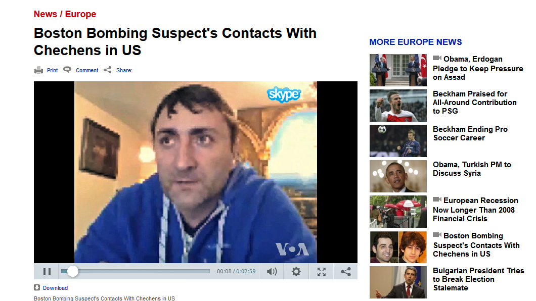 VOA Exclusive: Boston Bombing Suspect Met Former Chechen Rebel before Attack