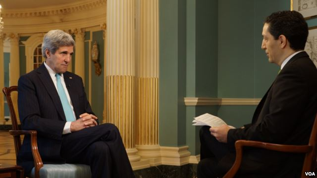 John Kerry tells VOA U.S. is ready to impose more sanctions on Russia for its actions in Ukraine