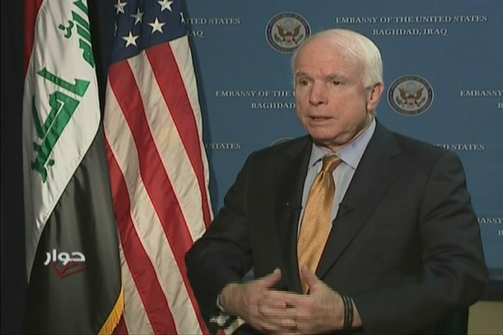 Senator McCain speaking to off camera reporter
