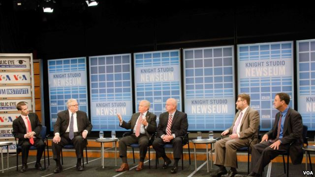 Panelists at VOA's In the Public Eye event hosted at the Newseum