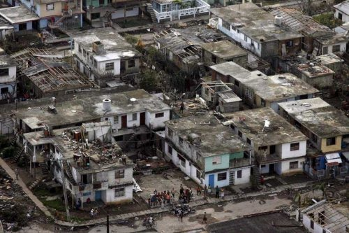 Aerial view from destroyed houses