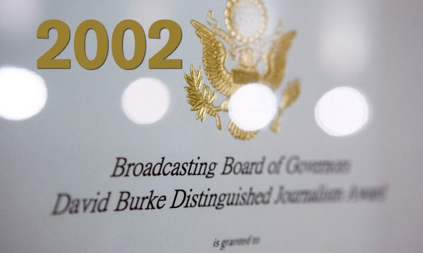 Year 2002, close up of a BBG David Burke Distinguished Journalism Award plaque.
