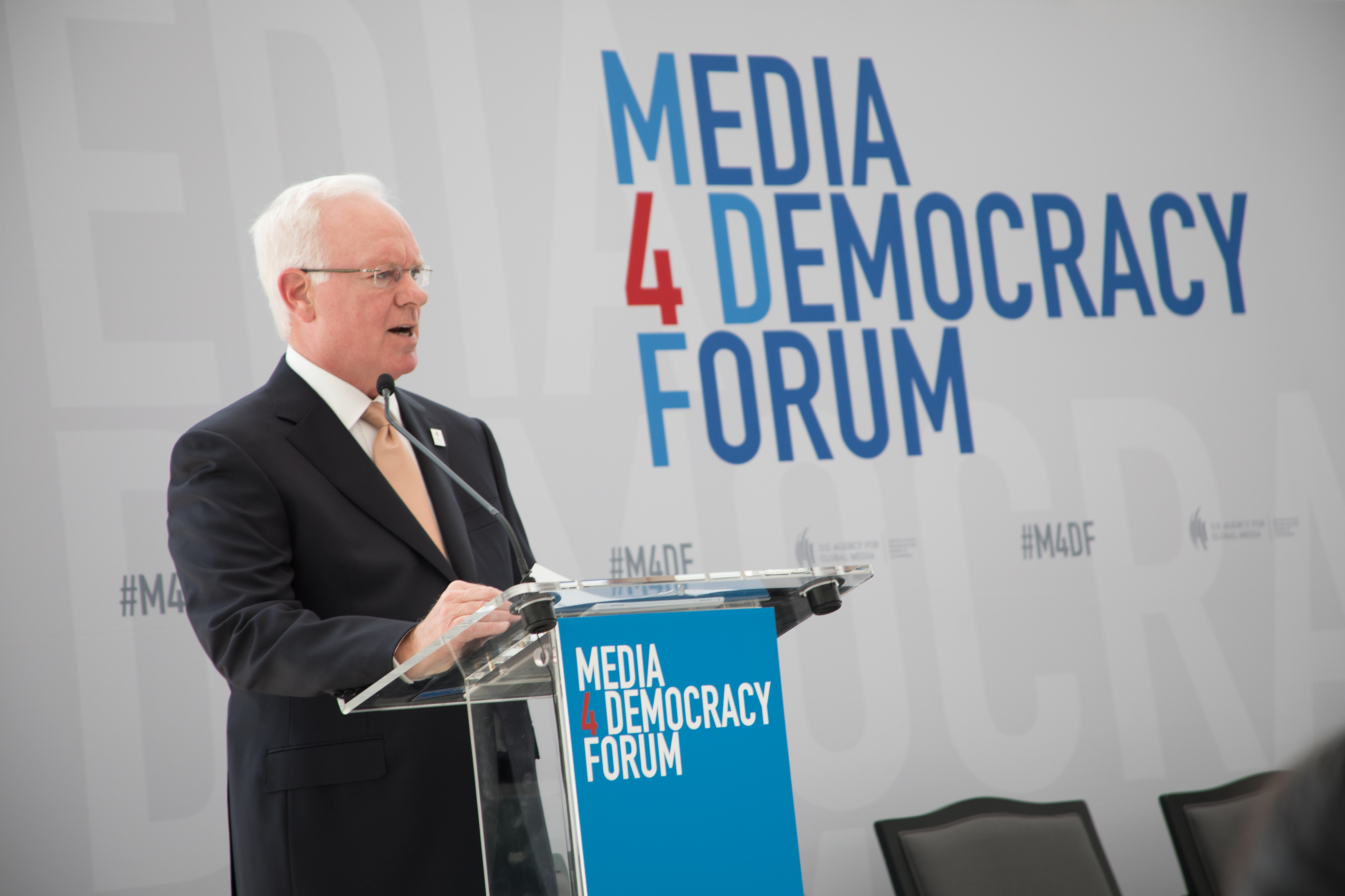 John Lansing delivers speech at USAGM's Media for Democracy Forum