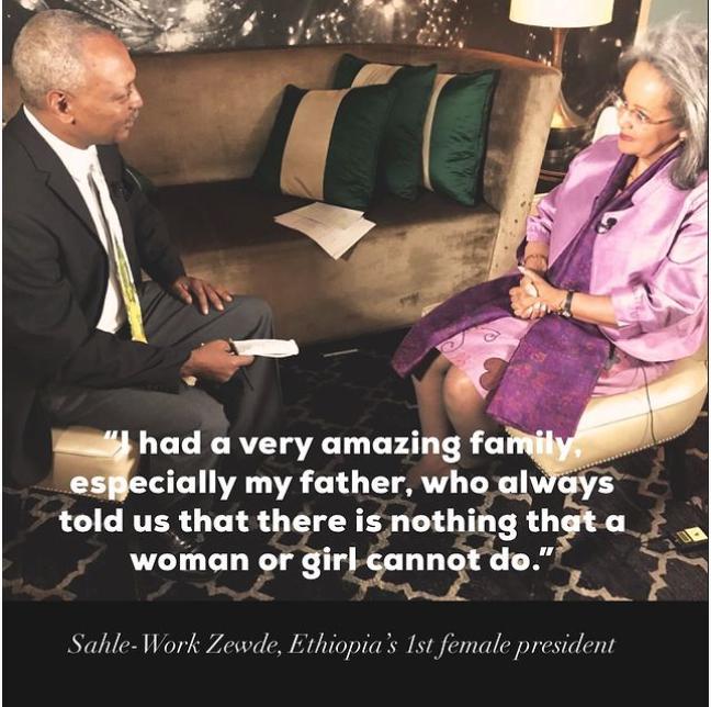 VOA Amharic reporter Solomon Abate interviews Ethiopia's first female president Sahle-Work Zewde