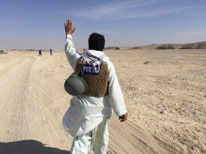 journalist in desert