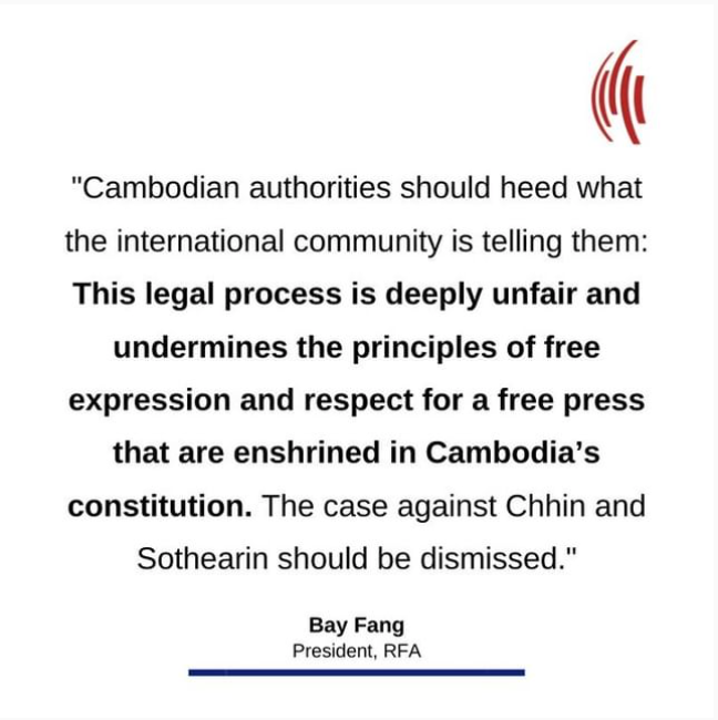 Statement of RFA President on former Cambodia journalists' appeal