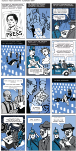 12 panel comic telling the story of the murder of an RFERL editor